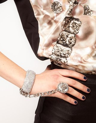 Asos Crystal Cuff with Linked Ring
