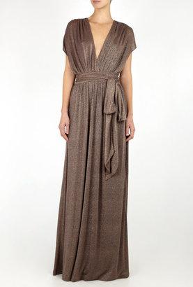 Halston Split Sleeve Metallic Full Length Dress