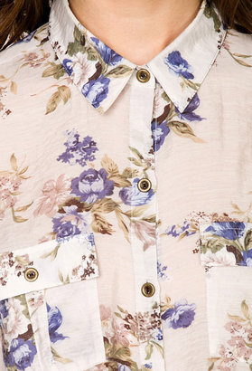 LOVE21 LOVE 21 Tie-Front Floral Shirt