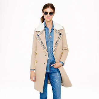 J.Crew Collection jeweled-collar topcoat
