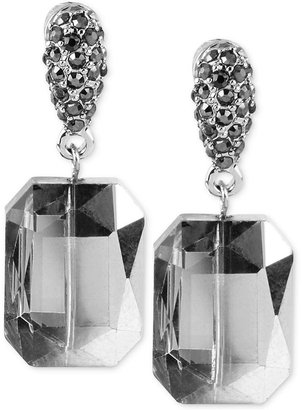 Kenneth Cole New York Earrings, Silver-Tone Faceted Stone and Pave Crystal Drop Earrings