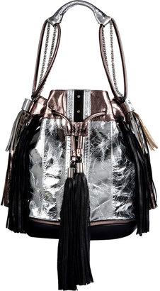 Sara Battaglia Silver/Pewter/Black Metallic Leather Drawstring Hobo Bag