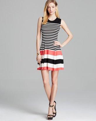 AQUA Dress - Sleeveless Variegated Striped Flare