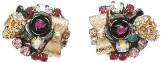 Betsey Johnson Betsey's Best Skull and Hearts Cluster Earrings (Multi) - Jewelry