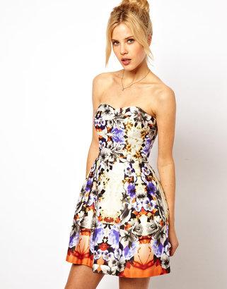 Asos Premium Bandeau Mirror Floral Skater Dress