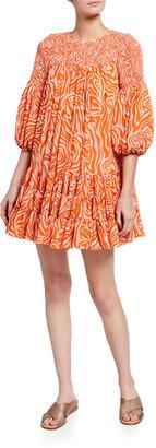 Cinq à Sept Rika Smocked Billowed-Sleeve Dress