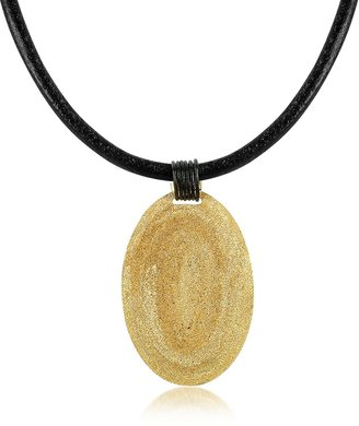 Stefano Patriarchi Golden Silver Etched Oval Pendant w/Leather Lace