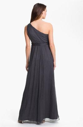 Amsale One Shoulder Chiffon Gown