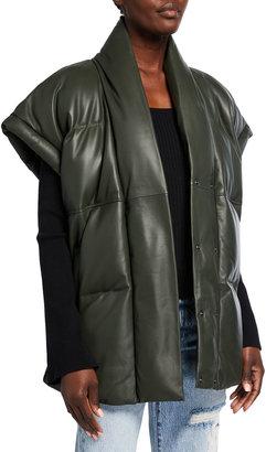Frame Oversize Leather Puffer Vest