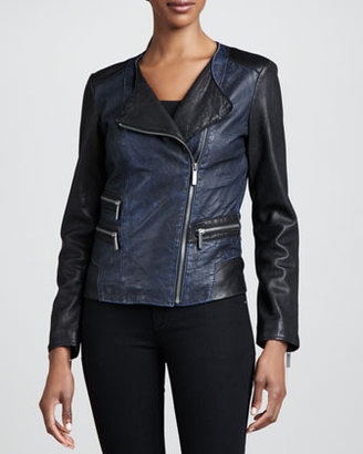 Neiman Marcus Colorblock Moto Jacket, Black/Blue