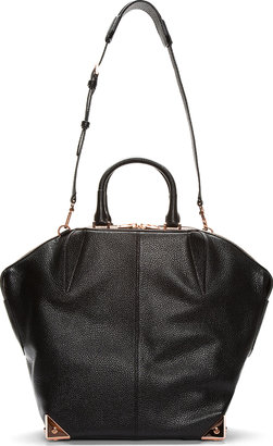 Alexander Wang Black Leather & Rosegold Structured Emile Large Tote