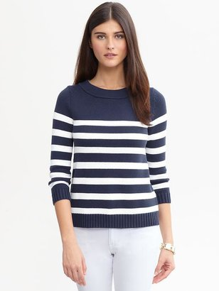 Banana Republic Striped funnel-neck pullover