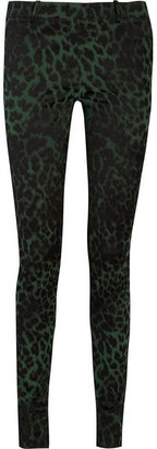 Roland Mouret Mortimer leopard jacquard and stretch-double crepe pants