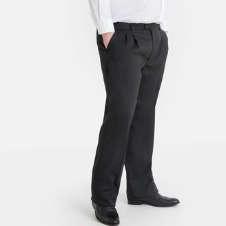 La Redoute Collections Plus Straight Pleat Front Trousers with Adjustable Waist