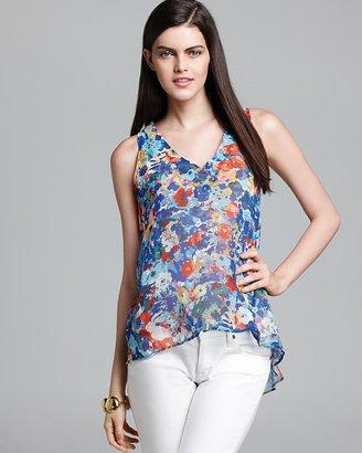 Aqua Blouse - Monet Floral Sleeveless High Low