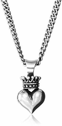 King Baby Studio Sterling Curb Link Chain with 3D Crowned Heart Pendant Necklace
