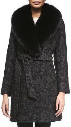Sofia Cashmere Damask Brocade Wrap Coat with Fur Trim $1,495 thestylecure.com