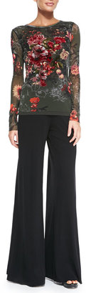 Jean Paul Gaultier Long-Sleeve Embroidered Floral-Print Tulle Top