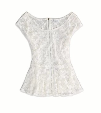 American Eagle AE Floral Lace Peplum Top