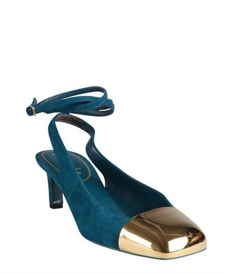 Saint Laurent teal suede and gold cap toe ankle strapped pumps