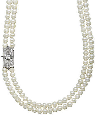 Lord & Taylor Sterling Silver and Fresh Water Pearl Necklace with White and Blue Topaz Clasp