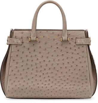 VBH Boulevard Ostrich Medium Tote Bag, Light Brown
