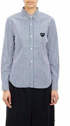 Comme des Garcons Women's Heart Striped Cotton Shirt - Navy, White