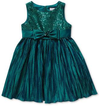Sweet Heart Rose Girls Dress, Little Girls Sequin Crinkle Dress