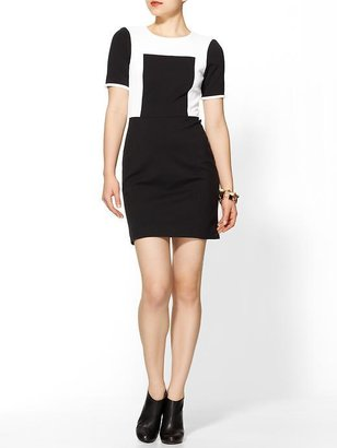 Tibi Ponte Colorblock Paneled Short Sleeve Dress