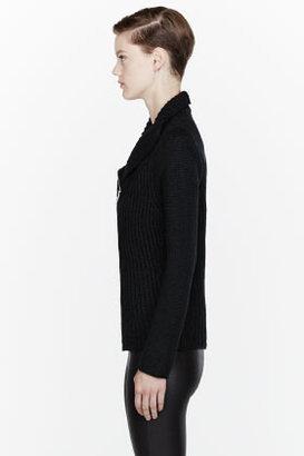 Helmut Lang HELMUT Black Soft Chainette zip cardigan