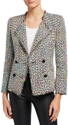 Emporio Armani Multicolor Tweed Double Breasted Jacket