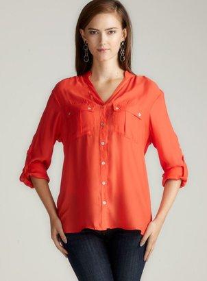 Larsen Gray Mandarin Collar Button Front Blouse
