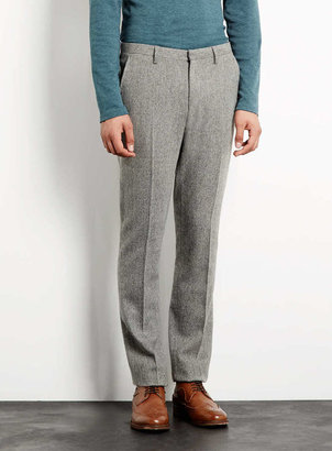 Topman Premium Grey Herringbone Dress Pants