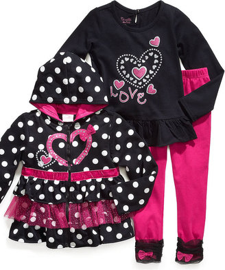 Nannette Baby Set, Baby Girls 3-Piece Hooded Jacket, Shirt and Leggings