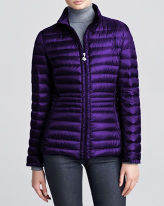 Moncler Contour-Quilted Hip-Length Puffer Jacket, Purple