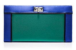 La Regale Emerald Colorblock Turnlock Closure Clutch