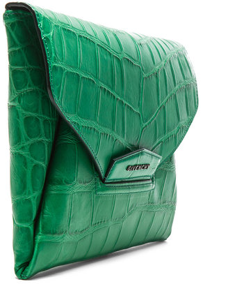 Givenchy Antigona Envelope Stamped Croc Clutch in Emerald Green