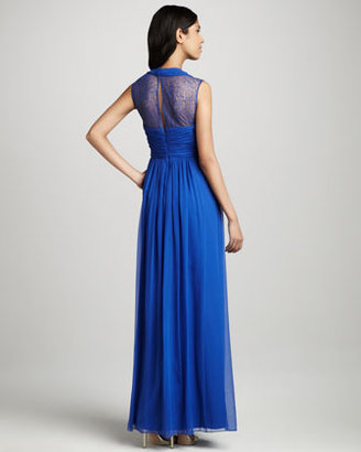 Phoebe Couture Lace-Back V-Neck Gown