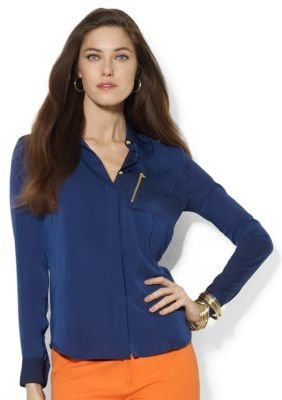Lauren Ralph Lauren Zip-Pocket Satin Blouse