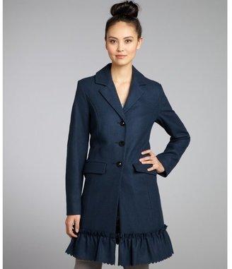 Betsey Johnson teal wool blend jewel three-button scalloped ruffle trim coat