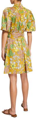 Tory Burch Pleated Floral-Print Tie-Waist Shirtdress