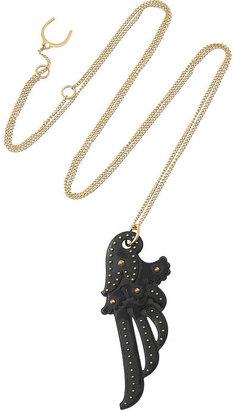 Philip Crangi Wing 14-karat gold and blackened steel necklace