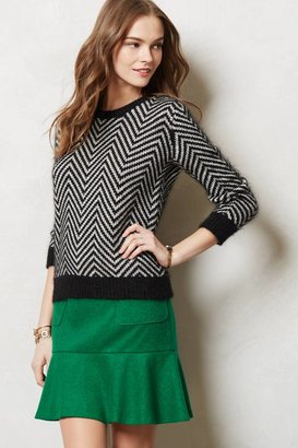 Anthropologie Emerald Flounce Skirt