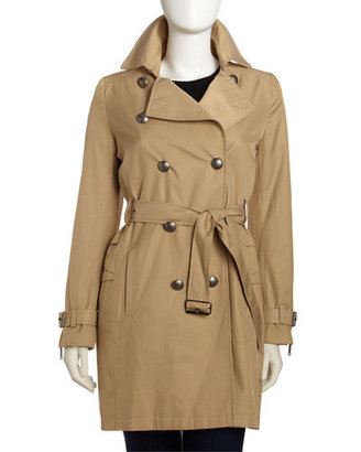 Nicole Miller Double-breasted Raincoat, Sand