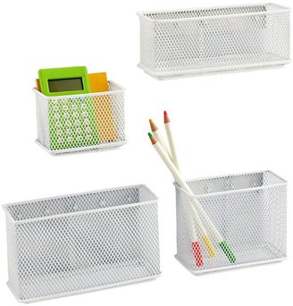 """Container Store 6"""" x 2"""" x 3-1/2"""" h Magnetic Mesh Bin White"""