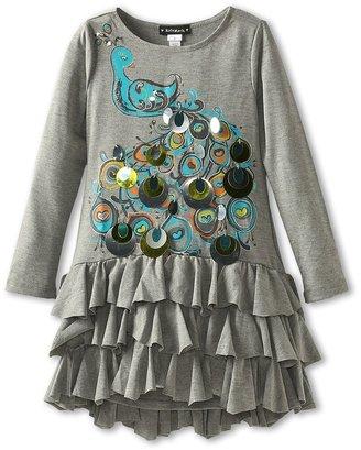 Kate Mack Strike A Pose Ruffle Dress (Little Kids) (Grey) - Apparel