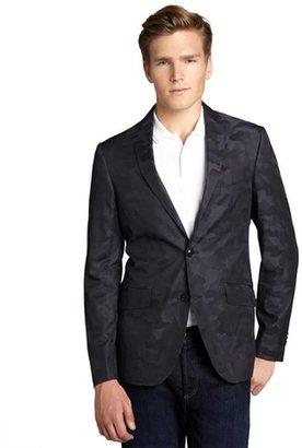 Etro black tonal camouflage cotton two-button blazer