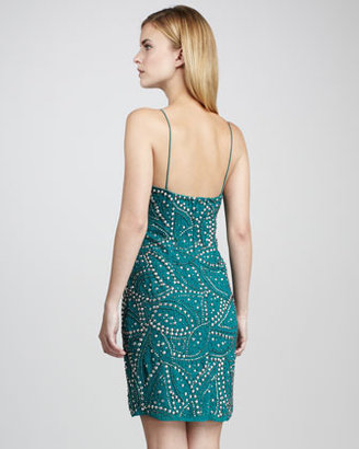 Aidan Mattox Studded Beaded Cocktail Dress