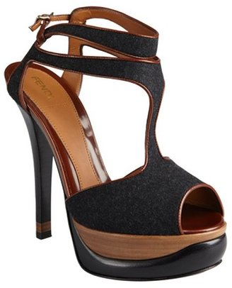 Fendi anthracite felt and leather peep toe t-strap pumps
