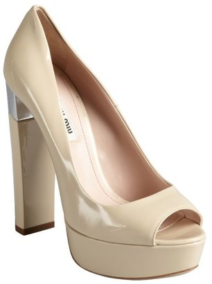 Miu Miu Silver And Nude Patent Leather Stacked Heel Platforms